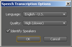 Premiere Transcription Settings
