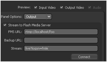Flash Media Live Encoder Output Panel